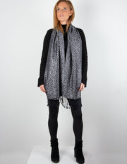 Image showing a Leopard Print Pattern Pashmina Black And Silver