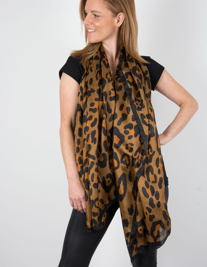 Scarf Room - The No 37 Label Brown, Black & Cream Leopard Animal Print Pure Silk Scarf_b
