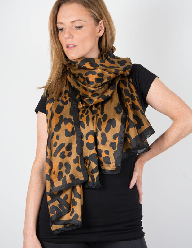 Image showing a Leopard Print Silk Scarf