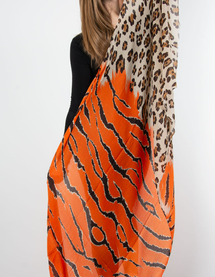 Leopard & Tiger Scarf | Orange