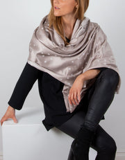 Light Bronze And Silver Polka Dot Pashmina