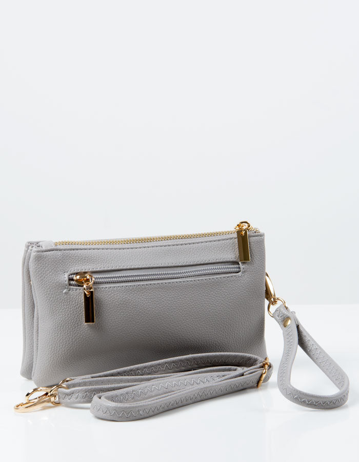 an image showing a Light Grey Clutch Bag