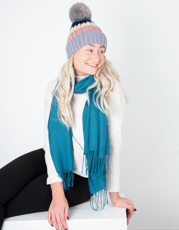 Lilac Bobble Hat Striped