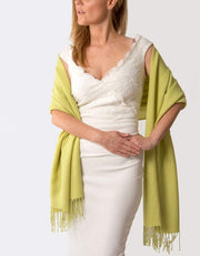Lime Green Wedding Pashmina - Made In Italy