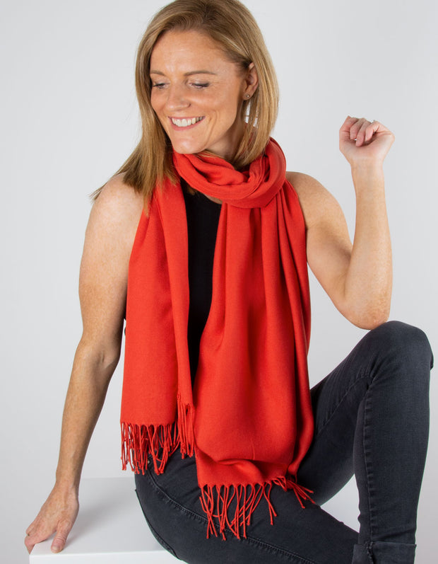 an image showing a mandarin red pashmina