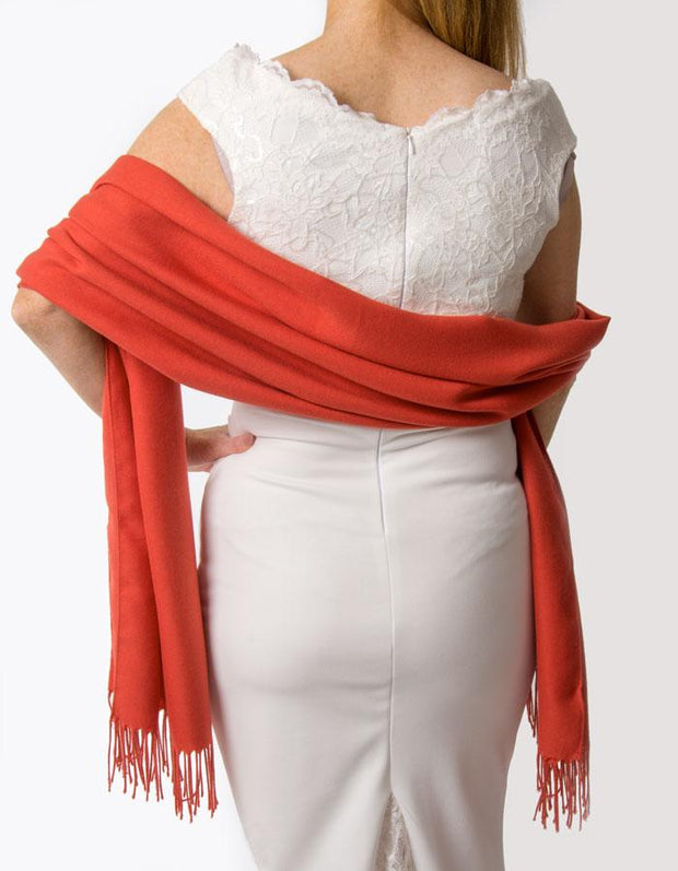 Mandarin Red Wedding Pashmina - Made In Italy