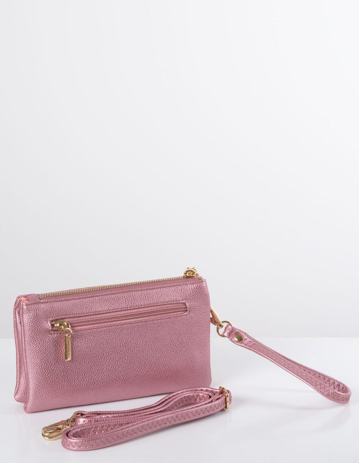 Metallic Pink Clutch Bag | Toni