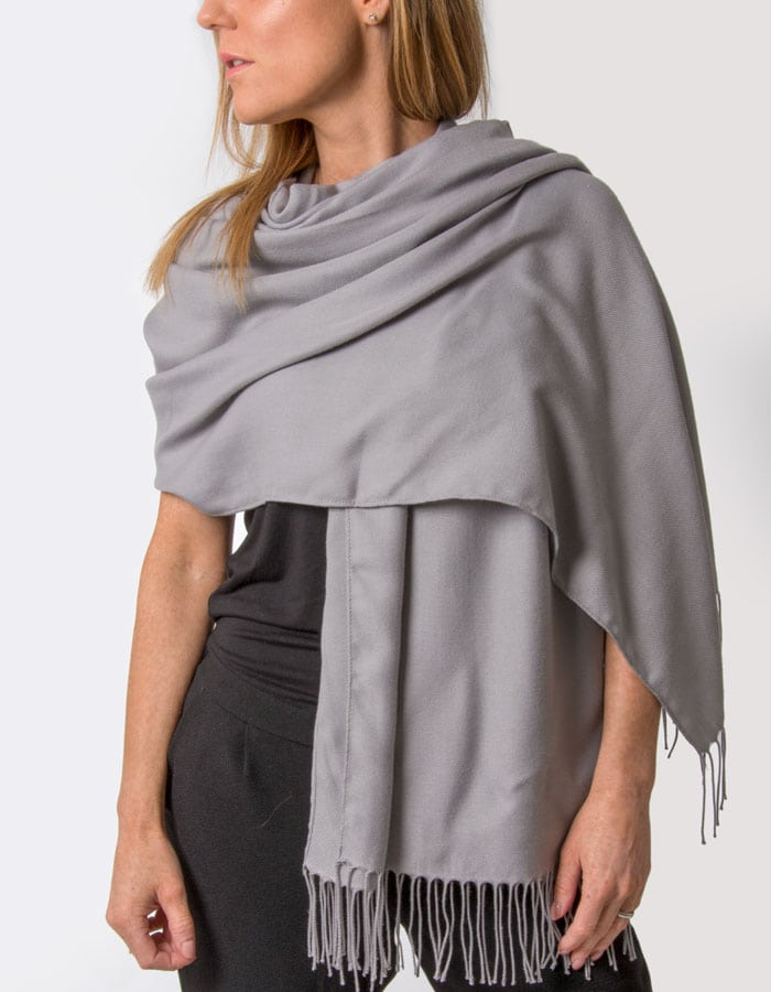 an image showing a mid grey pashmina