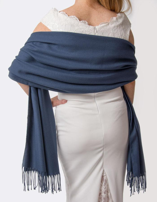 Moonlight Blue Wedding Pashmina - Made In Italy