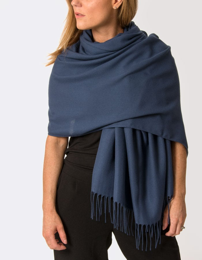 Image Showing Moonlight Blue Pashmina Shawl Wrap