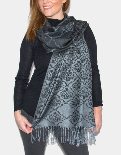 an image showing a Moroccan Print Grey Pashmina
