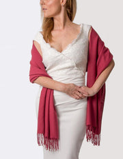 Mulberry Red Wedding Pashmina - Made In Italy