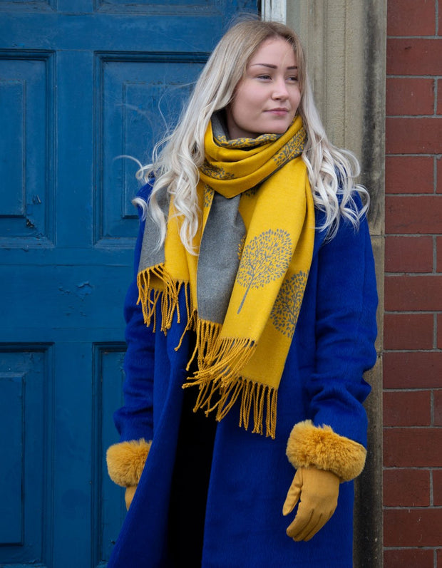 an image showing a mustard and grey mulberry print blanket scarf