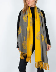an image showing a  yellow and grey mulberry print blanket scarf