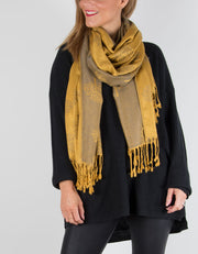 Image showing a mustard reversible patterned pashminas