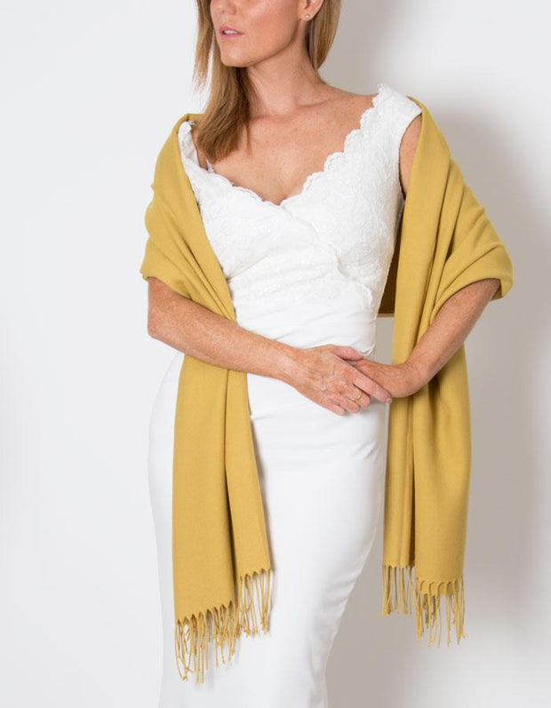 Mustard Yellow Wedding Pashmina