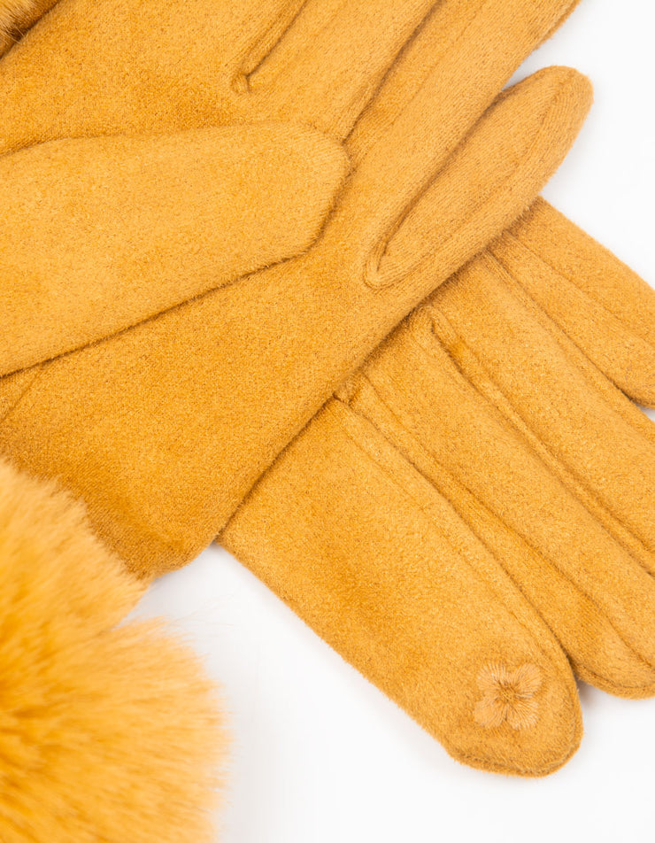 Mustard Yellow Faux Fur Gloves