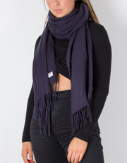 an image showing a navy blanket scarf