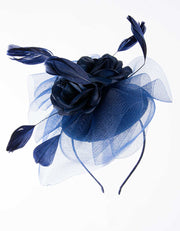 Navy Blue Double Flower Fascinator