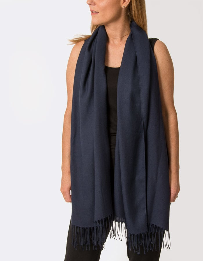Image Showing Navy Pashmina Shawl Wrap