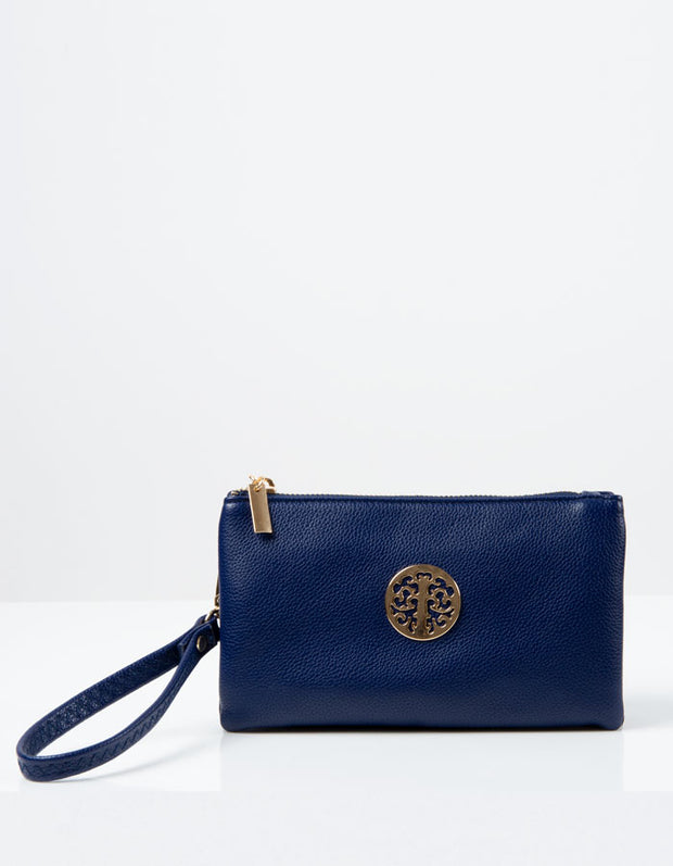 an image showing a navy clutch bag