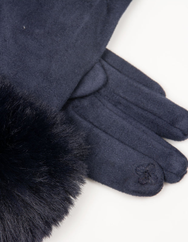 Navy Faux Fur Gloves