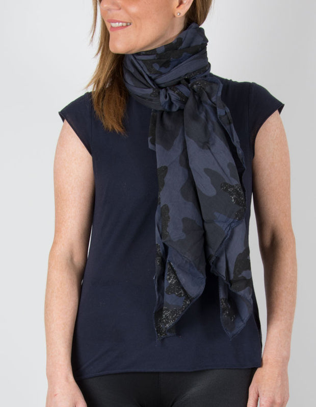 Image showing a Navy Metallic Scarf