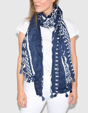 Image Showing Navy Printed Scarf