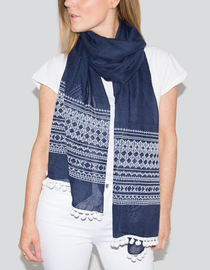 Image Showing Navy Scarf Pom Pom