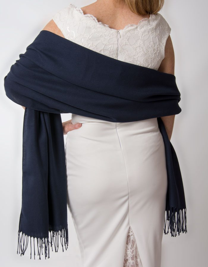 an image showing a navy blue wedding pashmina