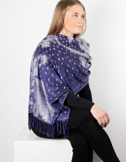 Navy And Silver Feather Print Patterned Pashmina