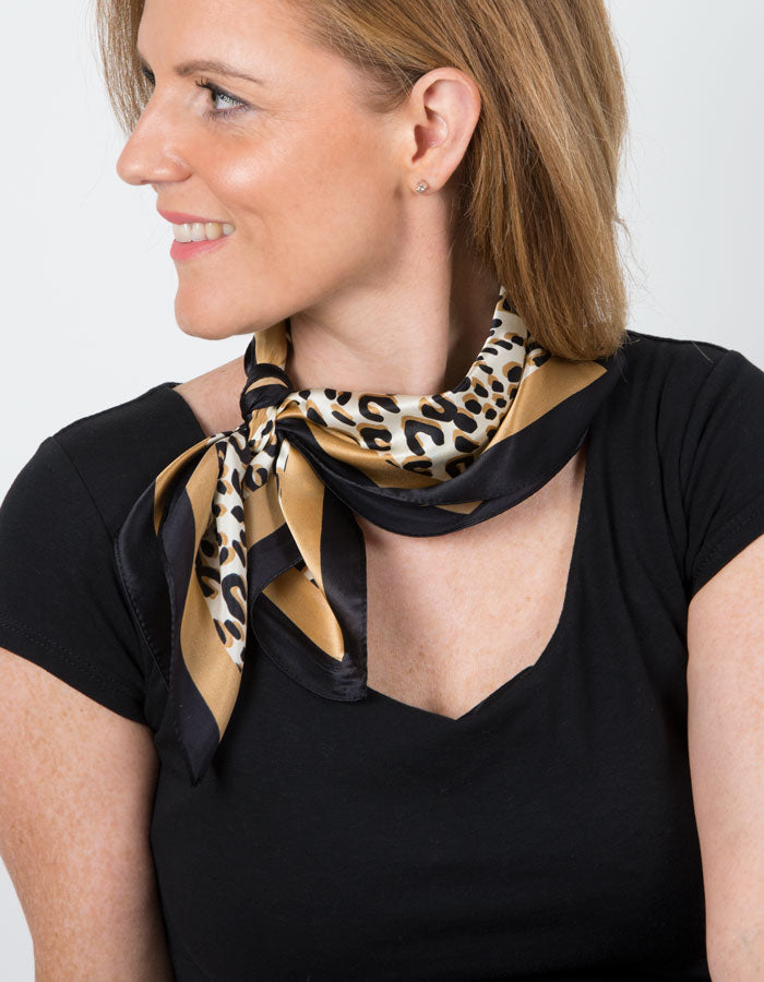 Image showing a Neckerchief Leopard Print Silk Scarf