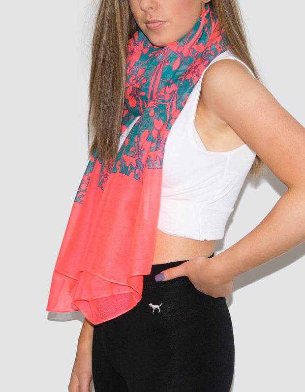Neon Coral Flowers Scarf