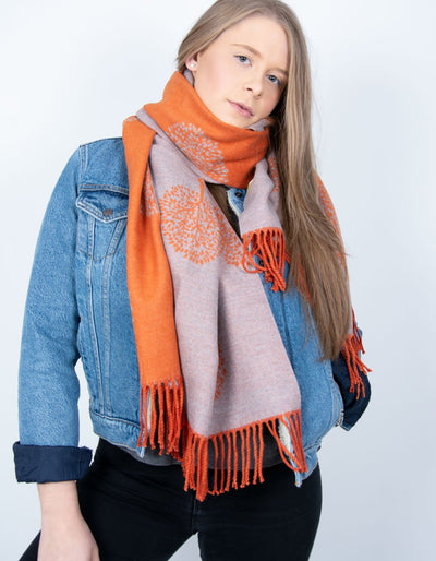 an image showing a orange and grey mulberry print blanket scarf