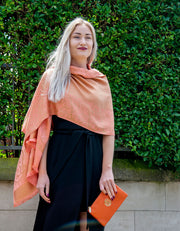 Orange Floral Reversible Pashmina