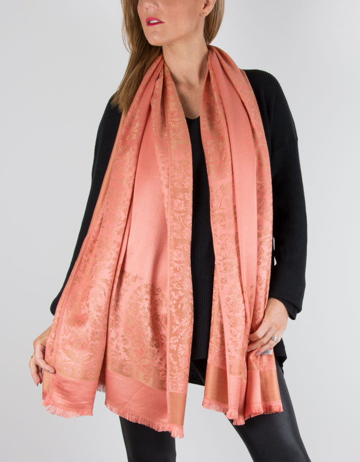 Image Showing an Orange Floral Pattern Pashmina