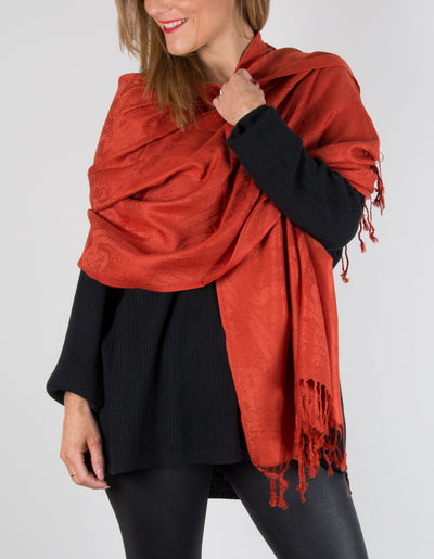 Image showing a Orange Paisley Print Pashmina