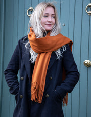 an image showing a winter pashmina in orange