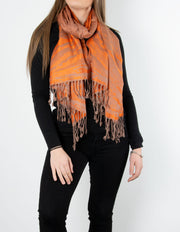 Orange And Bronze Splash Patterned Pashmina