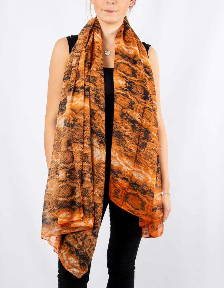 Orange And Navy Blue Snake Print Scarf