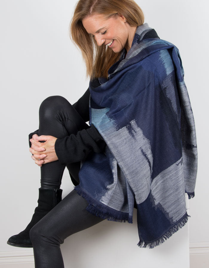 Image Showing a Pattern Pashmina with Blue Squares