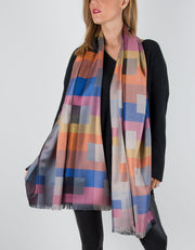 Patterned Pashmina with a Geometric Pattern in Blue, Pinks Orange and Gold