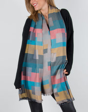 Patterned Pashmina with a Geometric Pattern in Golds, Blues and Pinks