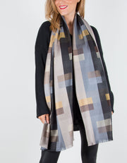 Patterned Pashmina with a Geometric Pattern in Greys, Silver and Blue