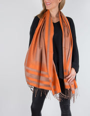 Bronze And Orange Large Stripe Patterned Pashmina
