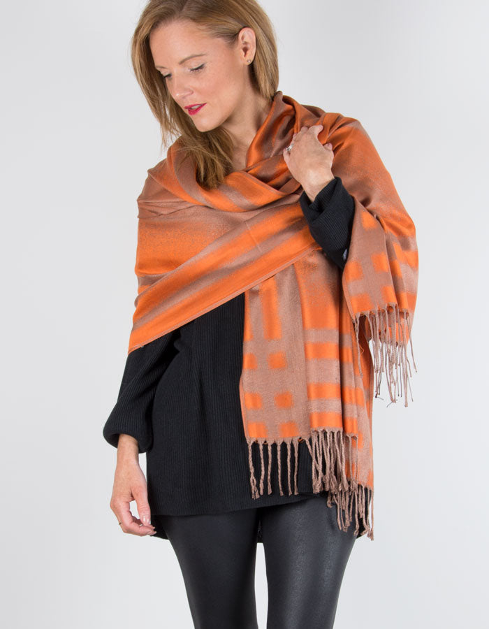 Scarf-Room---The-No-37-Label-Bronze-Orange-Abstract-Pure-Silk-Scarf-b