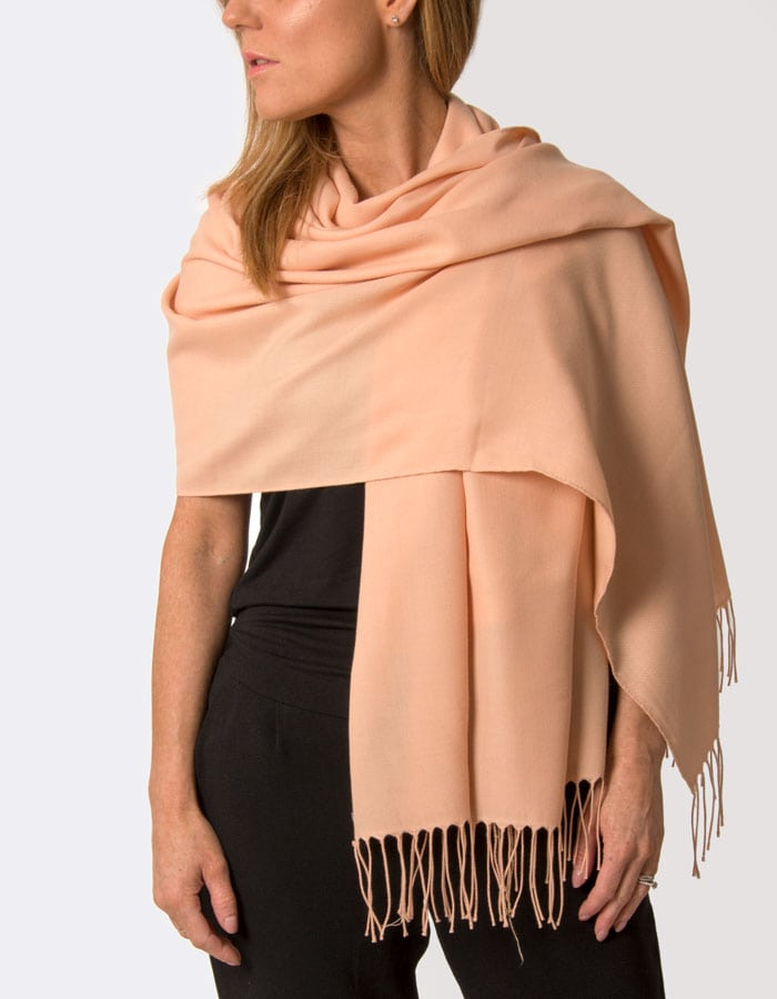 an image showing a peach coloured pashmina