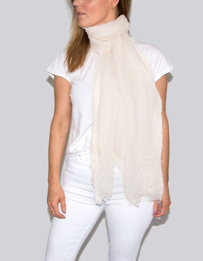 An image showing a petal pink cotton scarf
