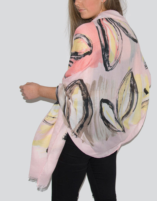 Pink Abstract Heart Scarf