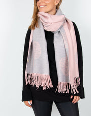 an image showing a pink and grey mulberry print blanket scarf
